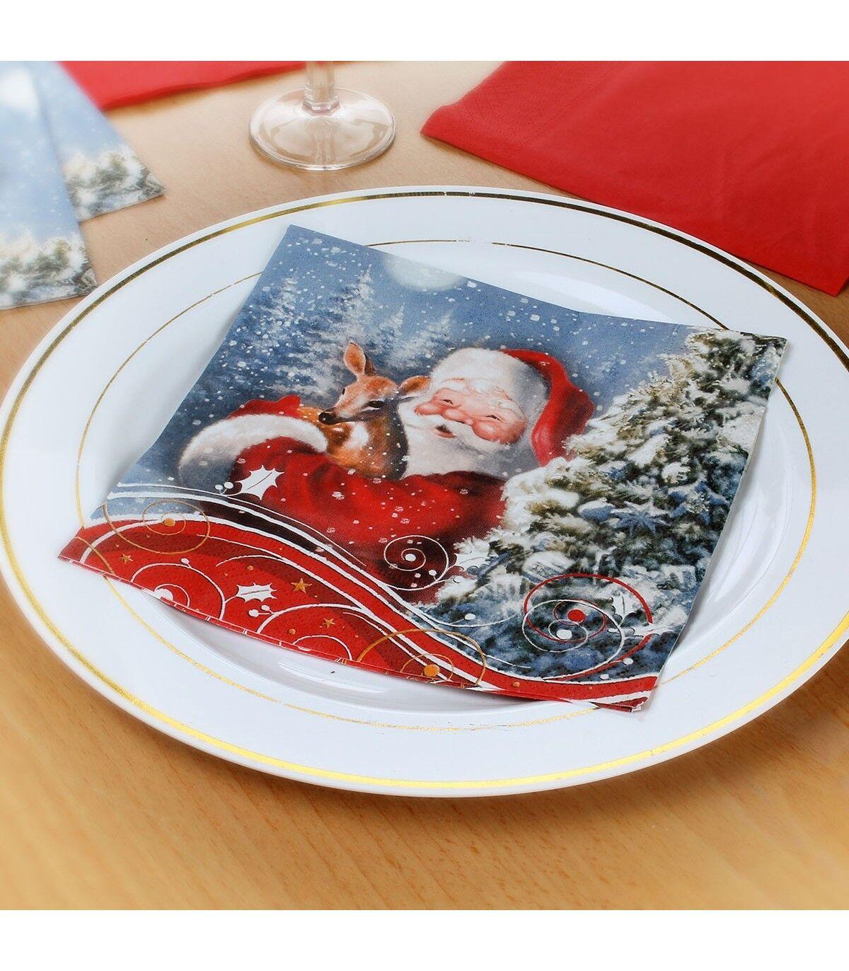 Astuceo Serviettes Père Noël et Faon - lot de 20