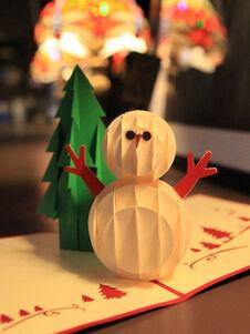 Cartes de Noël Pop Up Carte de voeux Cadeaux Bonhomme de neige 3