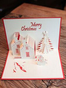 Carte de voeux de Noël Pop Up House 3D vacances cadeaux de Noël