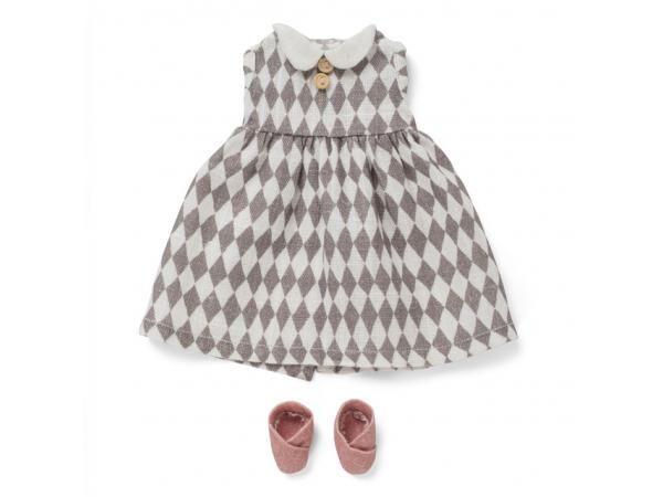 Littlephant Vêtements de poupée harlequin - robe et chaussures
