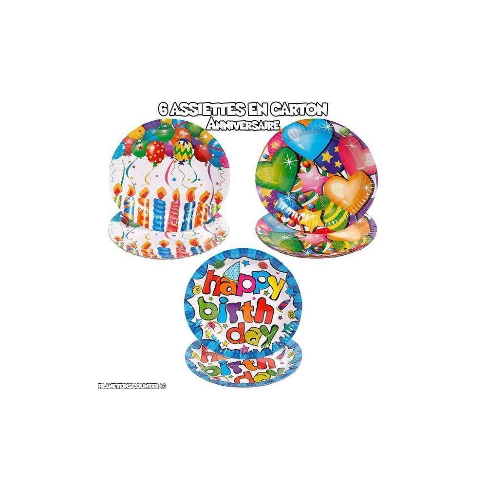 lot de 6 assiettes en carton anniversaire : Modèles - Happy Birthday