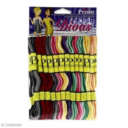 Prism Fil coton mouliné Prism - Modèle Divas - 36 échevettes de 8 mètres
