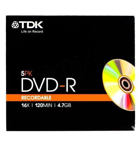 Pack 5 DVD-R 16X SLIM - TDK - 4.7Gb