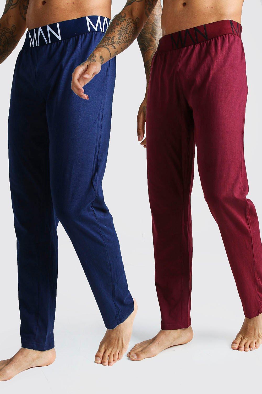 Boohooman 2 Lot de pantalon de Pyjama homme confort en Jersey Homme - Marine - S, Marine