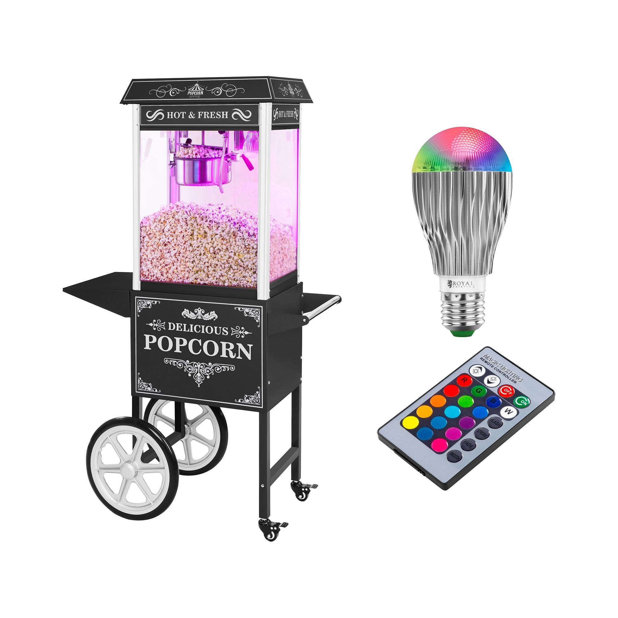 Royal Catering Set machine à popcorn avec chariot et ampoule LED — Allure rétro — Noire RCPW-16.2 Popcorn Machine LED Set