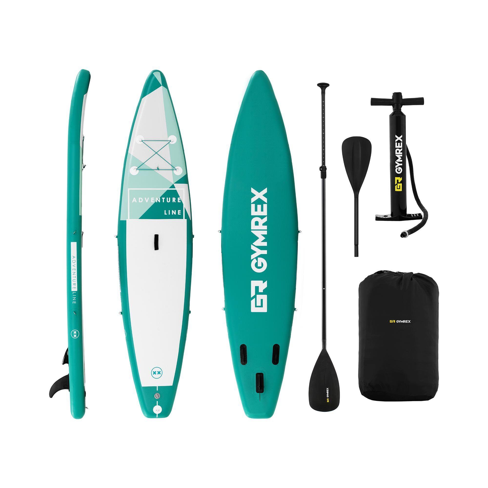 Gymrex Stand up paddle gonflable - 120 kg - Vert - Kit incluant pagaie et accessoires GR-SPB370