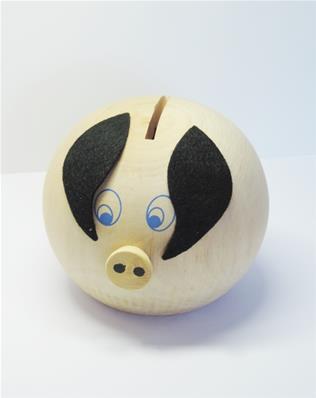 IDEE CADEAU Tirelire cochon en bois brut