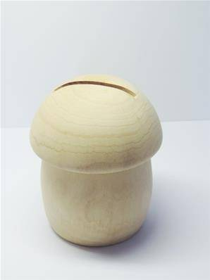IDEE CADEAU Tirelire champignon en bois brut