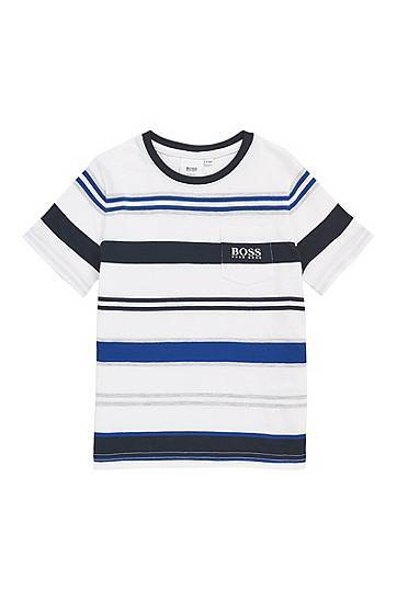 BOSS T-shirt Slim Fit pour enfant, avec rayures en maille taille: 102,114,126,138,150,162