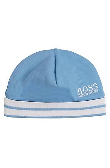 BOSS Bonnet pour bébé en coton à logo et bord côtelé à rayures