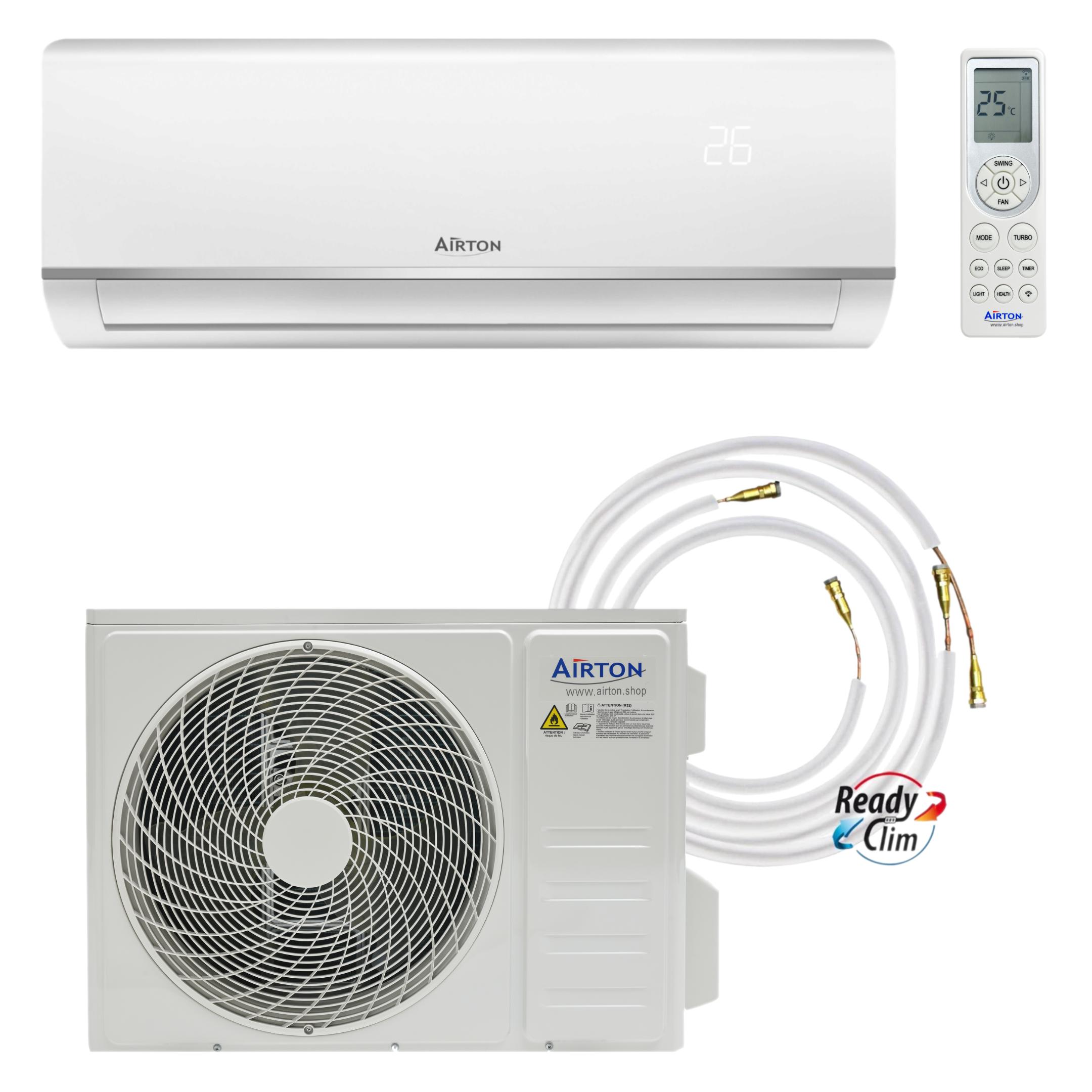 Airton Pompe à chaleur/Climatiseur Mono-Split Réversible - 3400/3600W 12000 BTU 1/4 3/8 R32 A++A+ Gaz pré-chargé + Raccordement Rapide Readyclim 4M