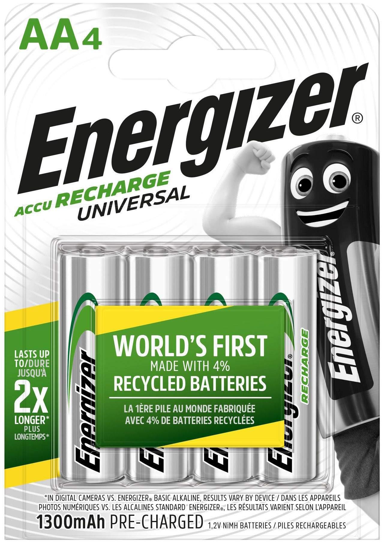 Energizer 4 Piles Rechargeables AA / HR6 1300mAh Energizer Universal