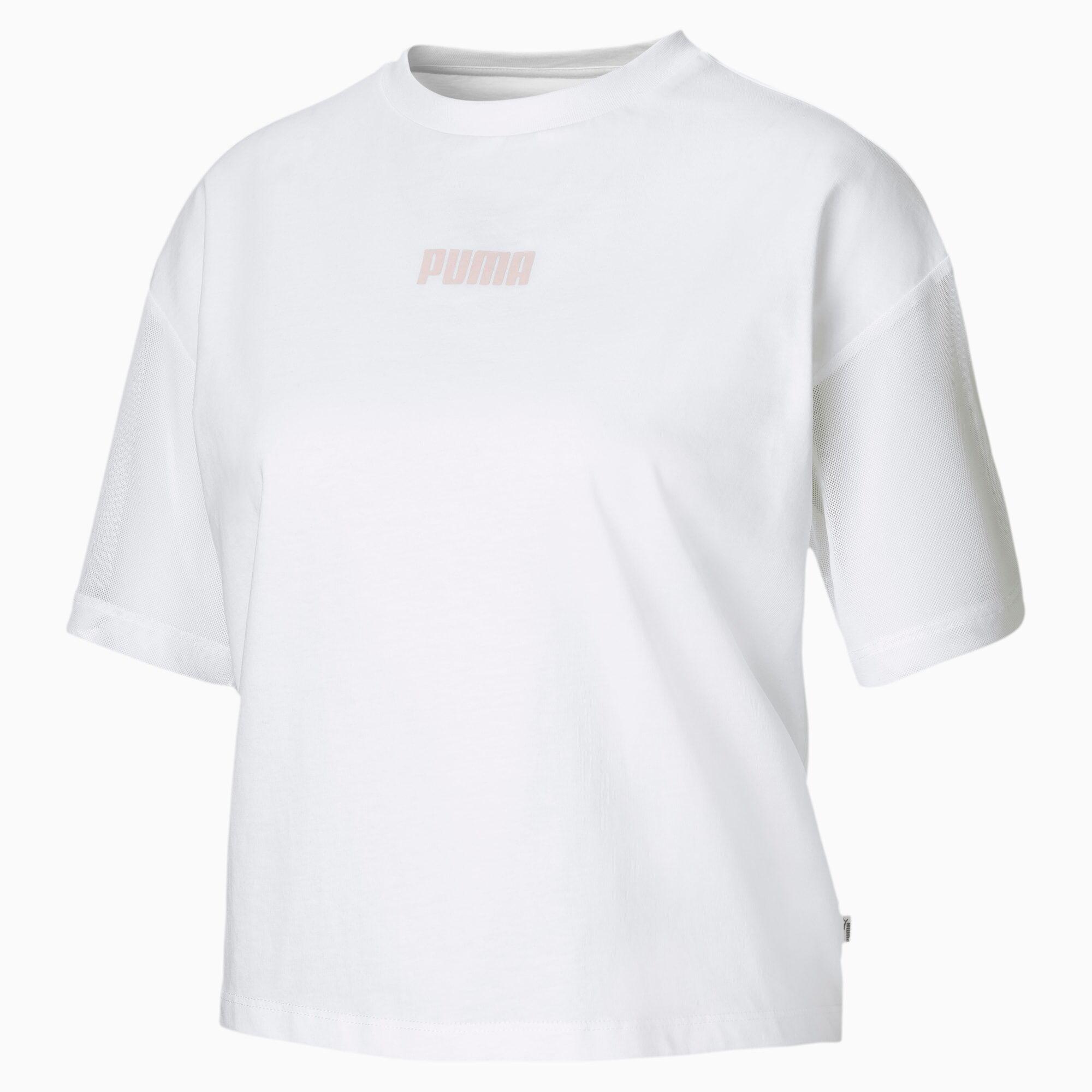 PUMA T-Shirt Mesh pour Femme, Blanc, Taille M, Vêtements