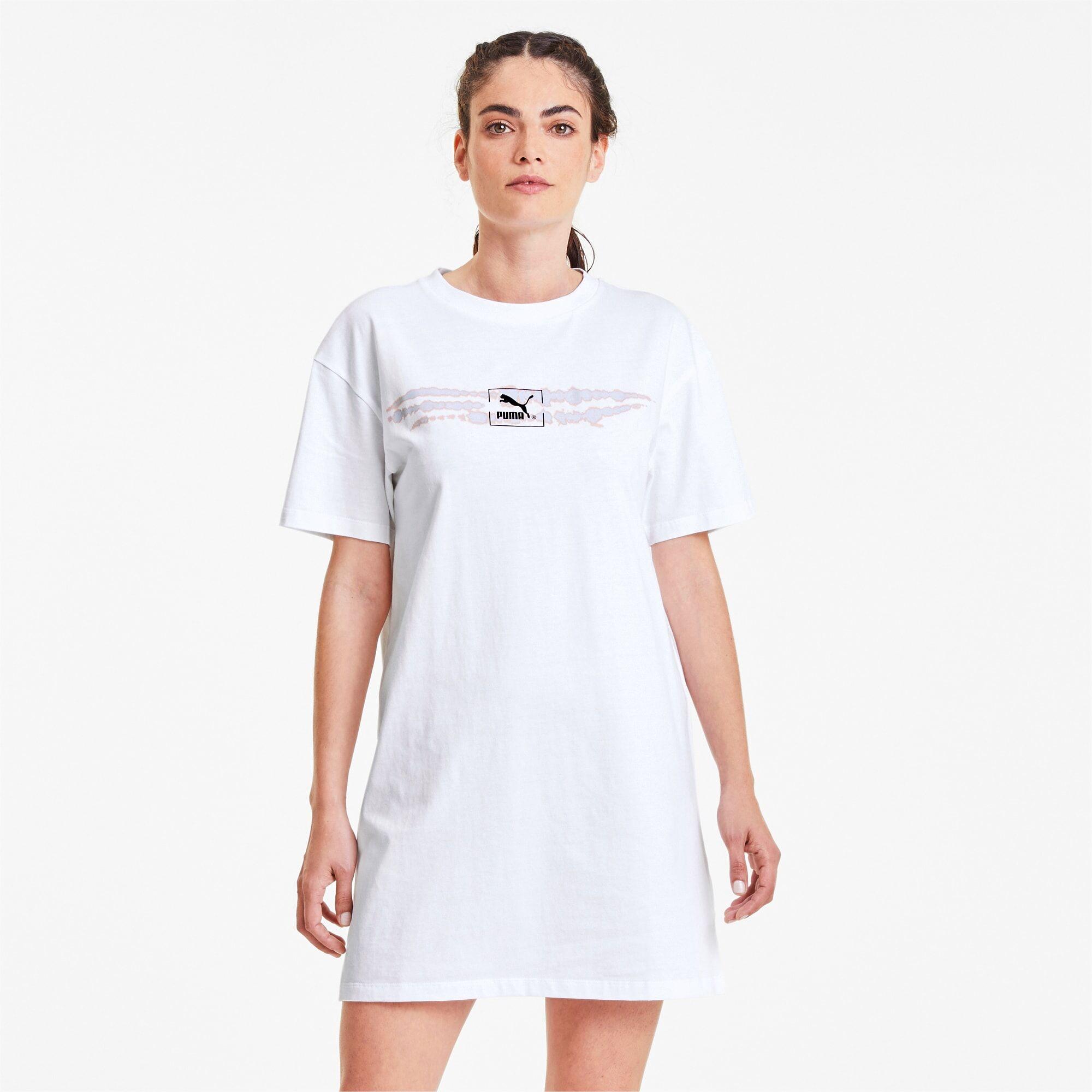 PUMA Robe Tie Dye pour Femme, Blanc, Taille S, Vêtements
