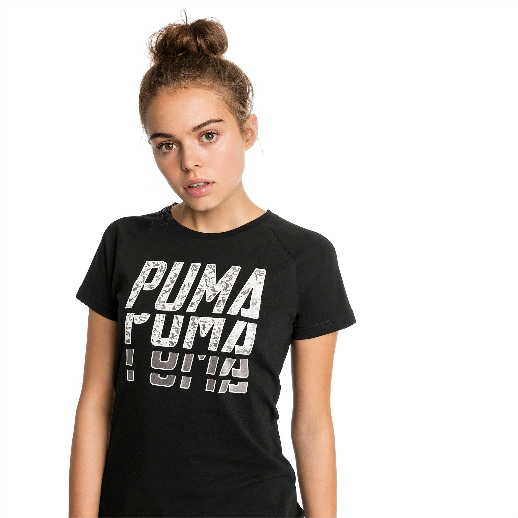PUMA T-Shirt Font Graphic pour Femme, Noir, Taille S, Vêtements