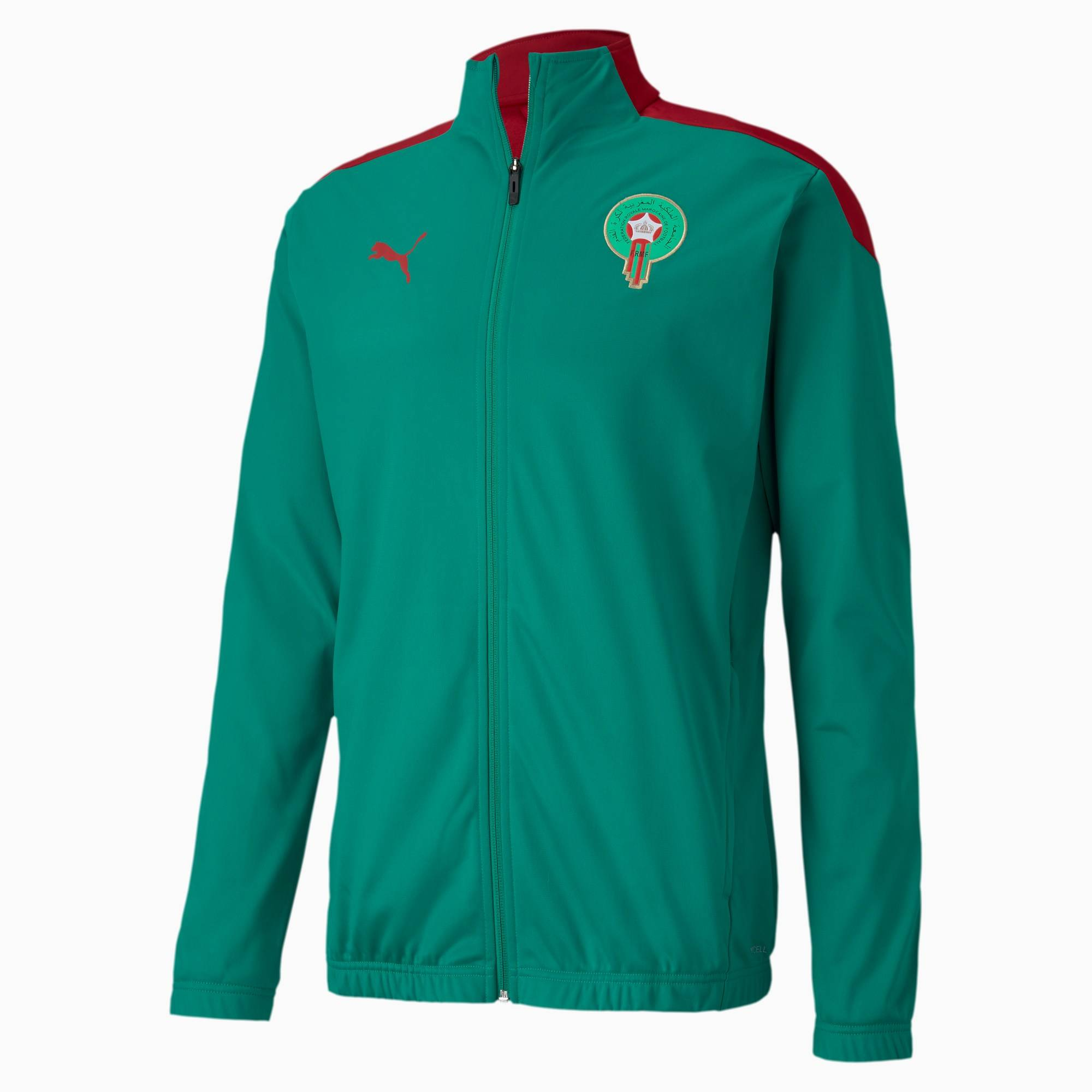 PUMA Blouson Maroc Stadium pour Homme, Vert/Rouge, Taille XS, Vêtements