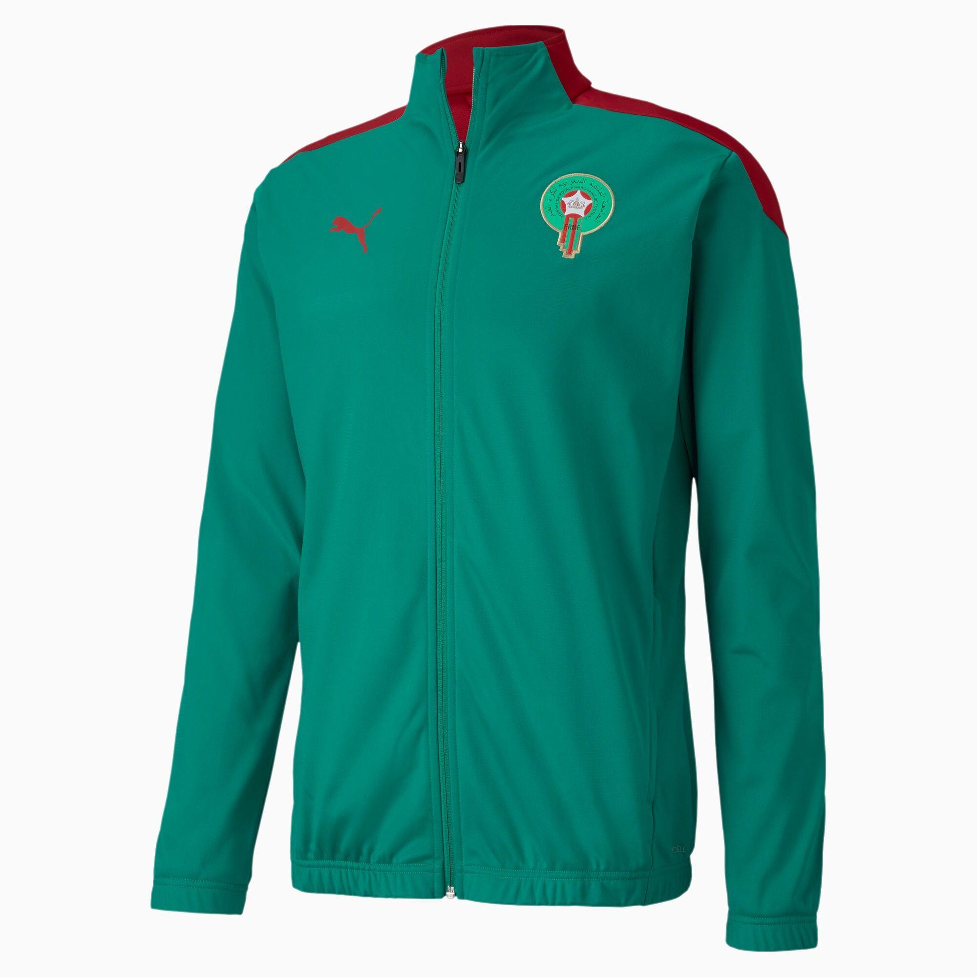 PUMA Blouson Maroc Stadium pour Homme, Vert/Rouge, Taille L, Vêtements