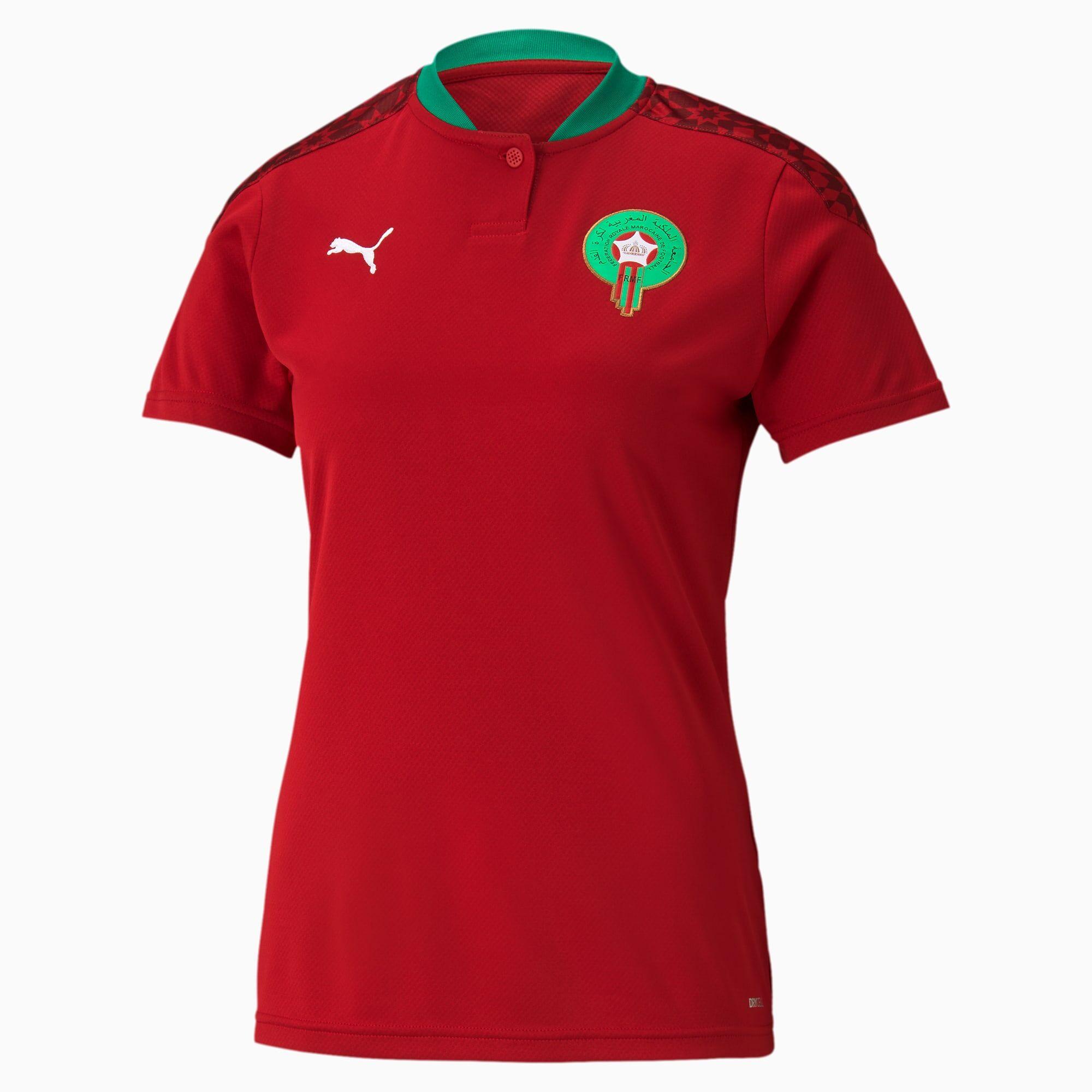 PUMA Maillot domicile Maroc Replica, Rouge/Blanc, Taille L, Vêtements
