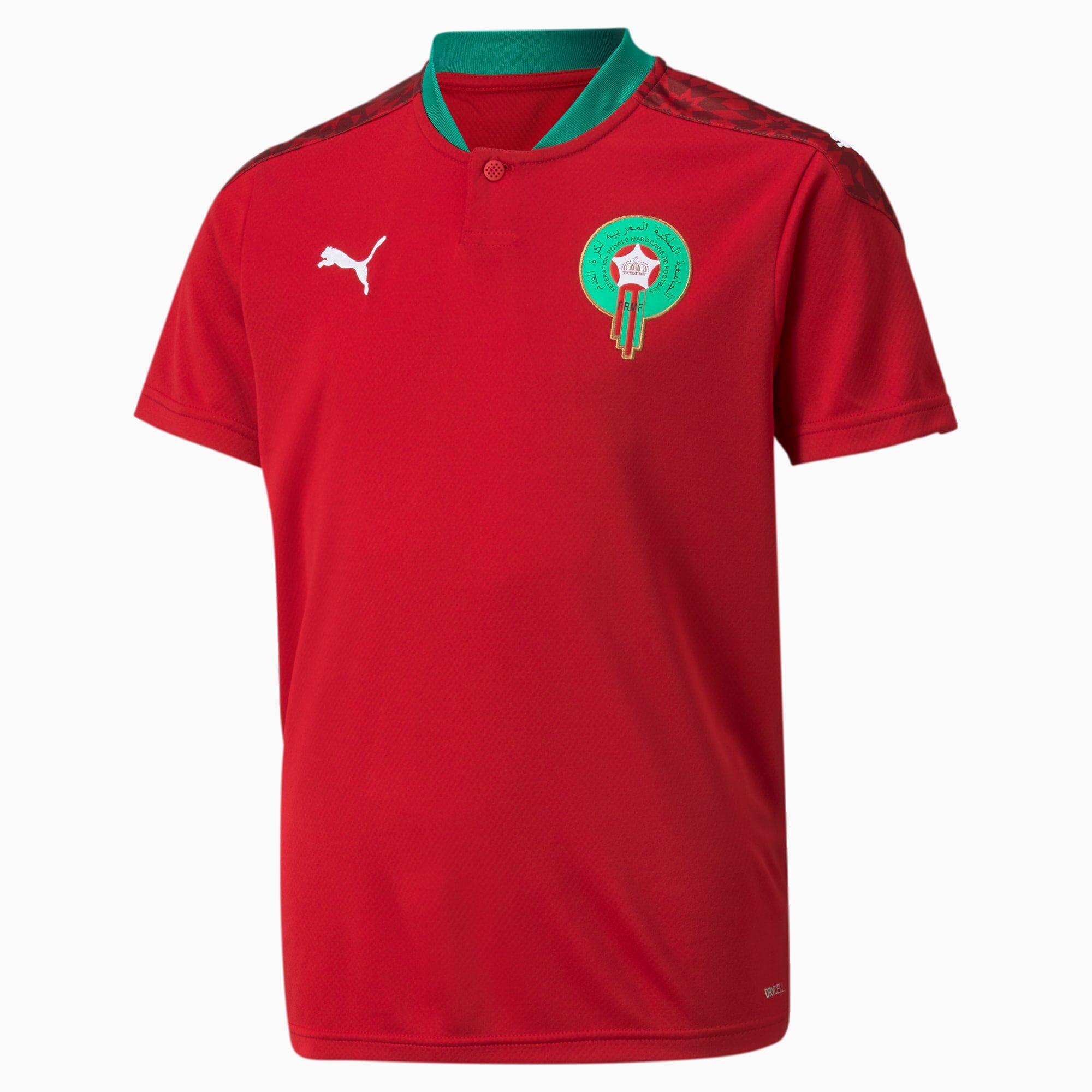 PUMA Maillot Domicile Maroc Youth Replica pour Enfant, Rouge/Blanc, Taille 128, Vêtements