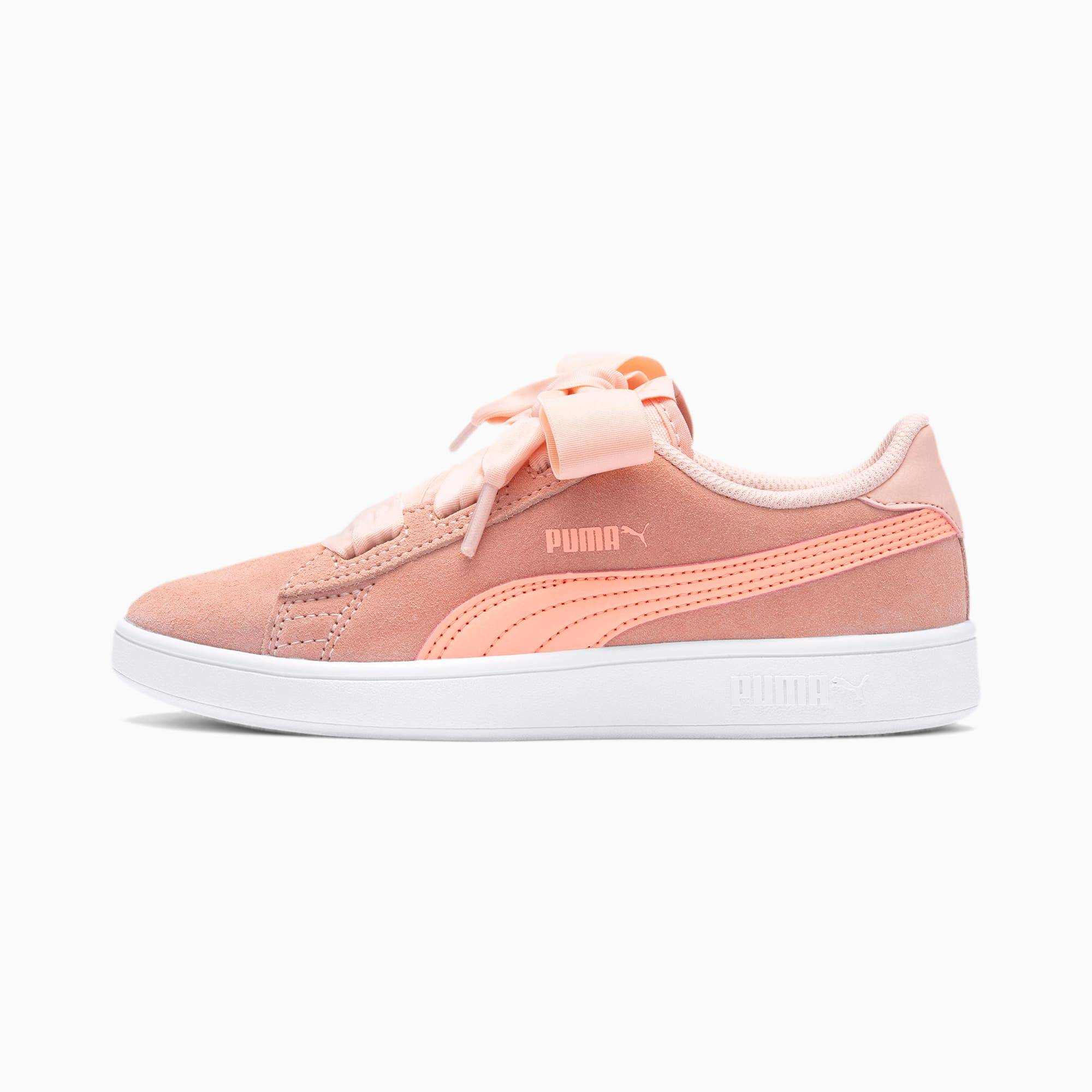 PUMA Chaussure Basket Smash v2 Ribbon AC pour fille, Rose/Blanc, Taille 30, Chaussures