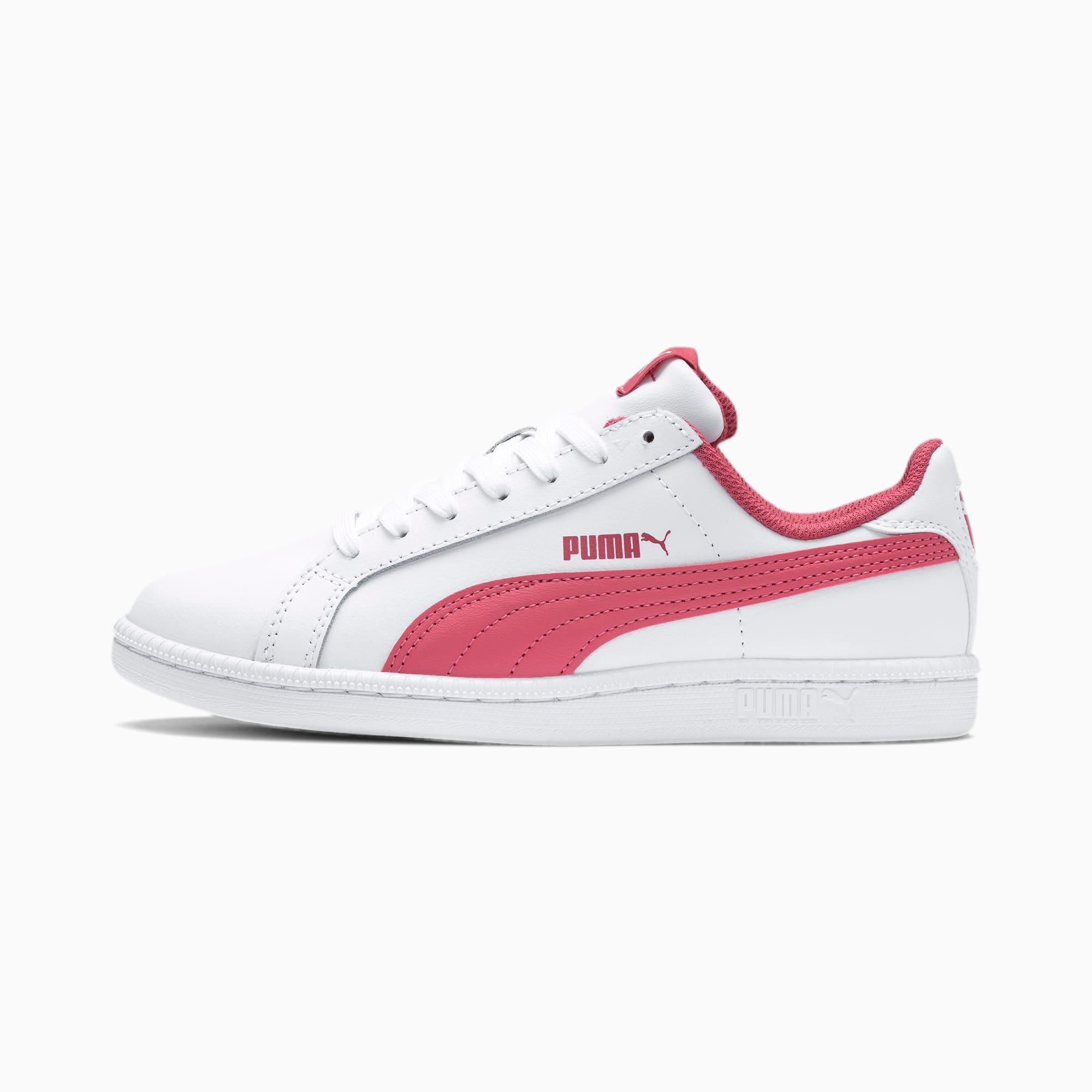 PUMA Chaussure Basket Smash Jr. pour Enfant, Blanc/Rose, Taille 37, Chaussures
