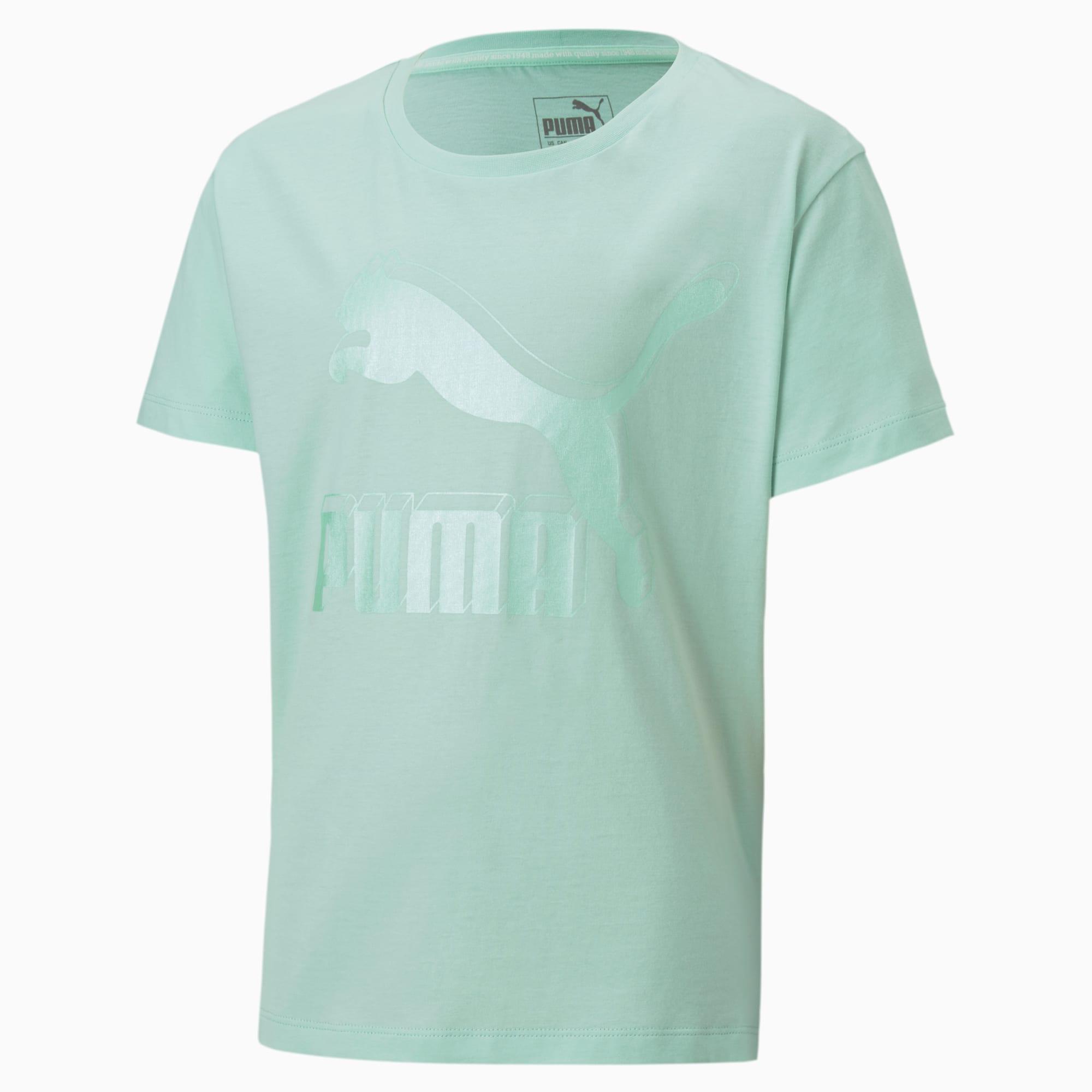 PUMA T-Shirt Classics Graphic pour fille, Vert, Taille 140, Vêtements