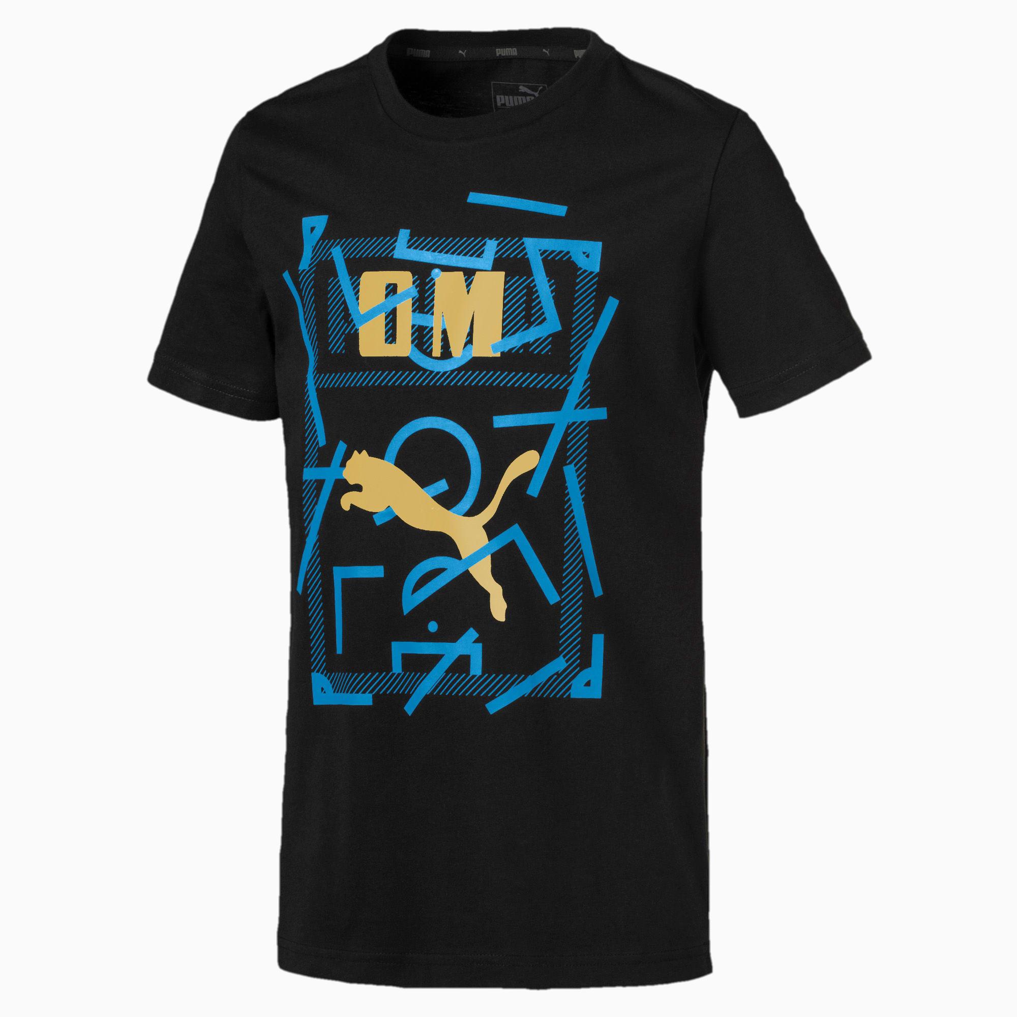 PUMA T-Shirt Olympique de Marseille DNA pour enfant, Noir, Taille 140, Vêtements