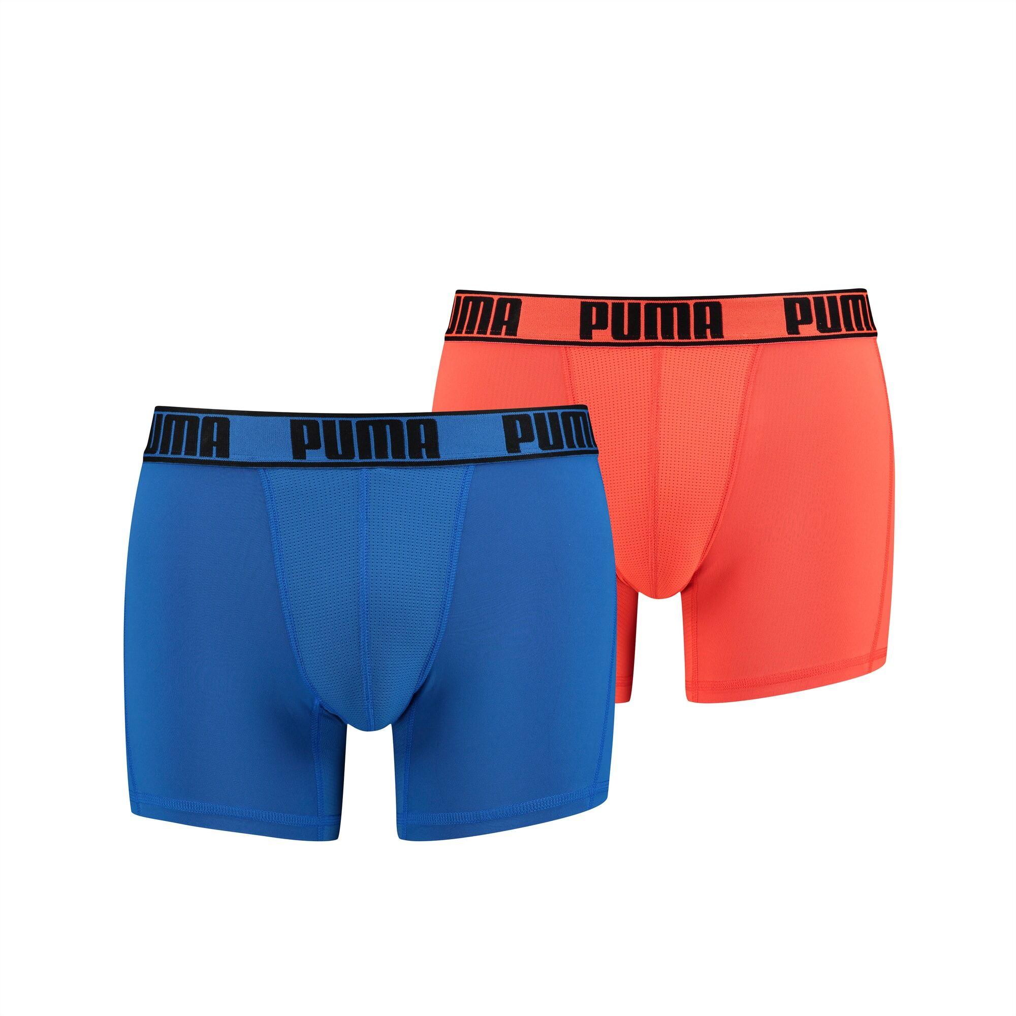 PUMA Lot de 2 boxers Active pour Homme, Orange/Bleu, Taille XXL, Vêtements