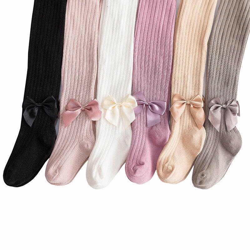 Leggings d'automne pour bébés filles   Chaussettes de bébé fille, collants tricotés avec nœud pour enfants, nouvelle collection