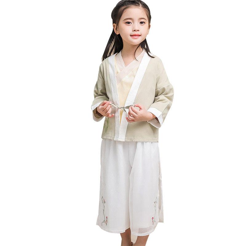 Bébé hanfu fille style ethnique trois pièces vêtements traditionnels Chinois pour enfants enfants costume de tang