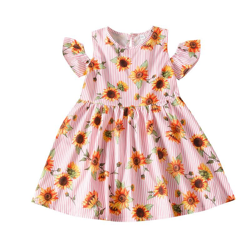 Bébé vêtements robe 2020 d'été en coton À imprimé à Une épaule fleurs filles robe