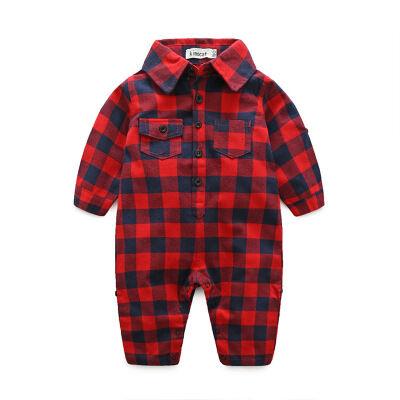 Bébé vêtements gentry barboteuse 100% coton bébé garçon barboteuses plaid bébé body