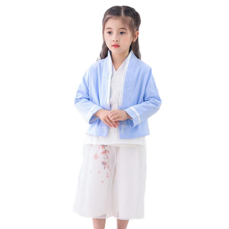 Bébé hanfu fille coton et lin costume style ethnique trois pièces vêtements traditionnels Chinois pour les enfants