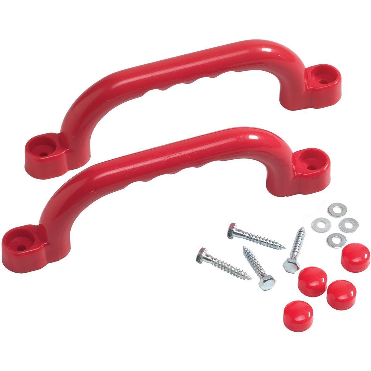 KBT Jeu de poignées en plastique Rouge - Pour Aire de Jeux et Cadres d'Escalade – 250 x 75 mm