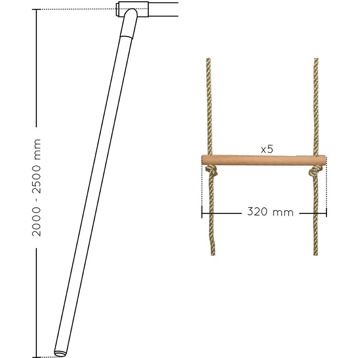 SOULET Echelle pour portique 5 barreaux bois et corde (agrès) - Soulet