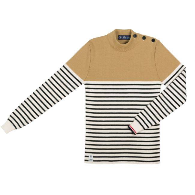 No Name Pull LA TOUCHE FRANCAISE - Pull'Ouvert Caramel Beurre Rayé