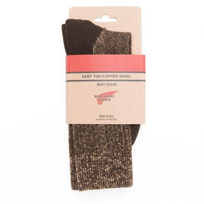 Red Wing Shoes CHAUSSETTES RED WING DEEP TOE CAPPED WOOL- MARRON