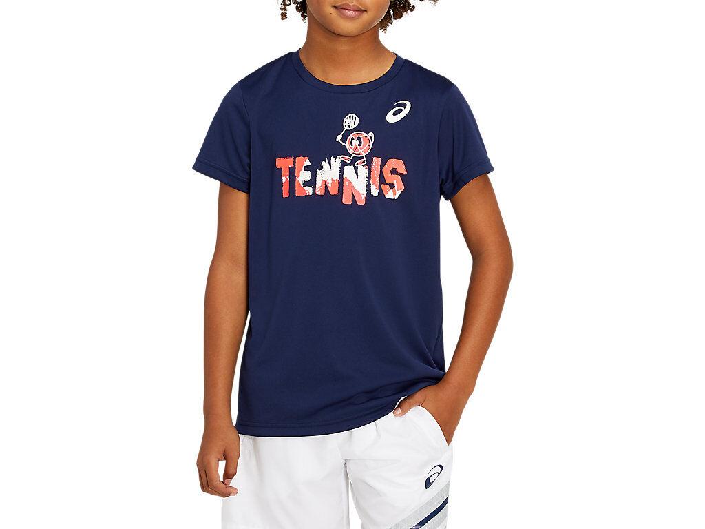 Asics Tennis B Graphic T Peacoat / Sunrise Red Enfants Taille S