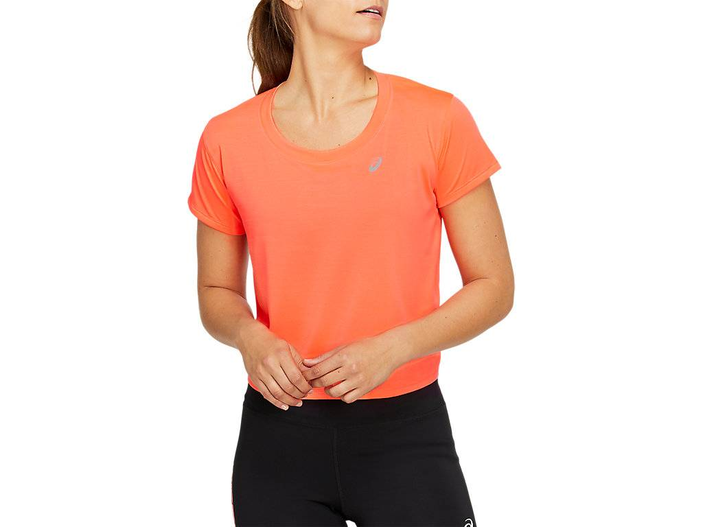 Asics Race Crop Ss Top Flash Coral Femmes Taille XS