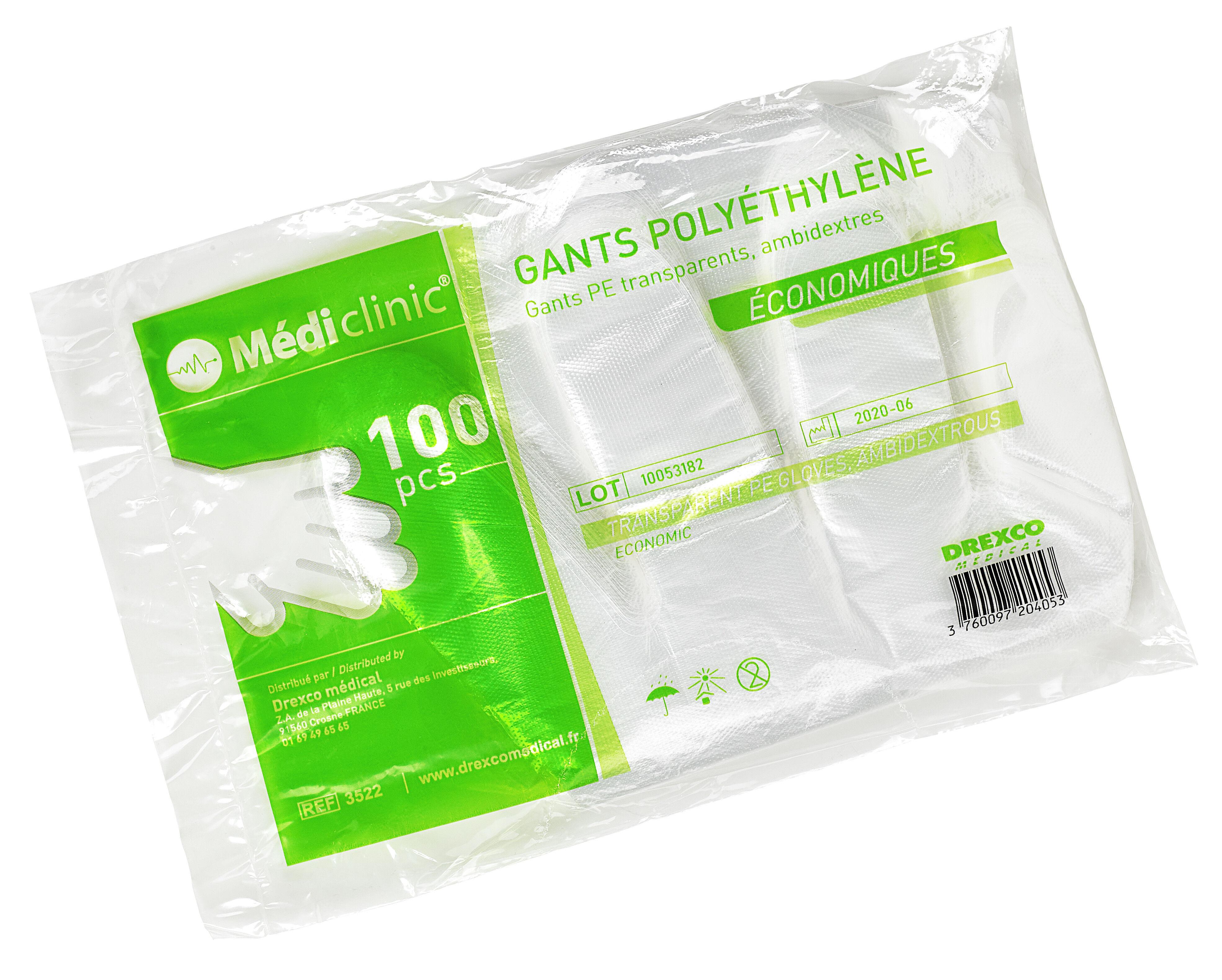 GANTS POLYÉTHYLÈNE MEDICLINIC - BOITE DE 100