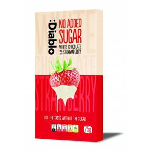 :Diablo Tablette de chocolat blanc à la fraise sans sucre ajouté :Diablo 75 g