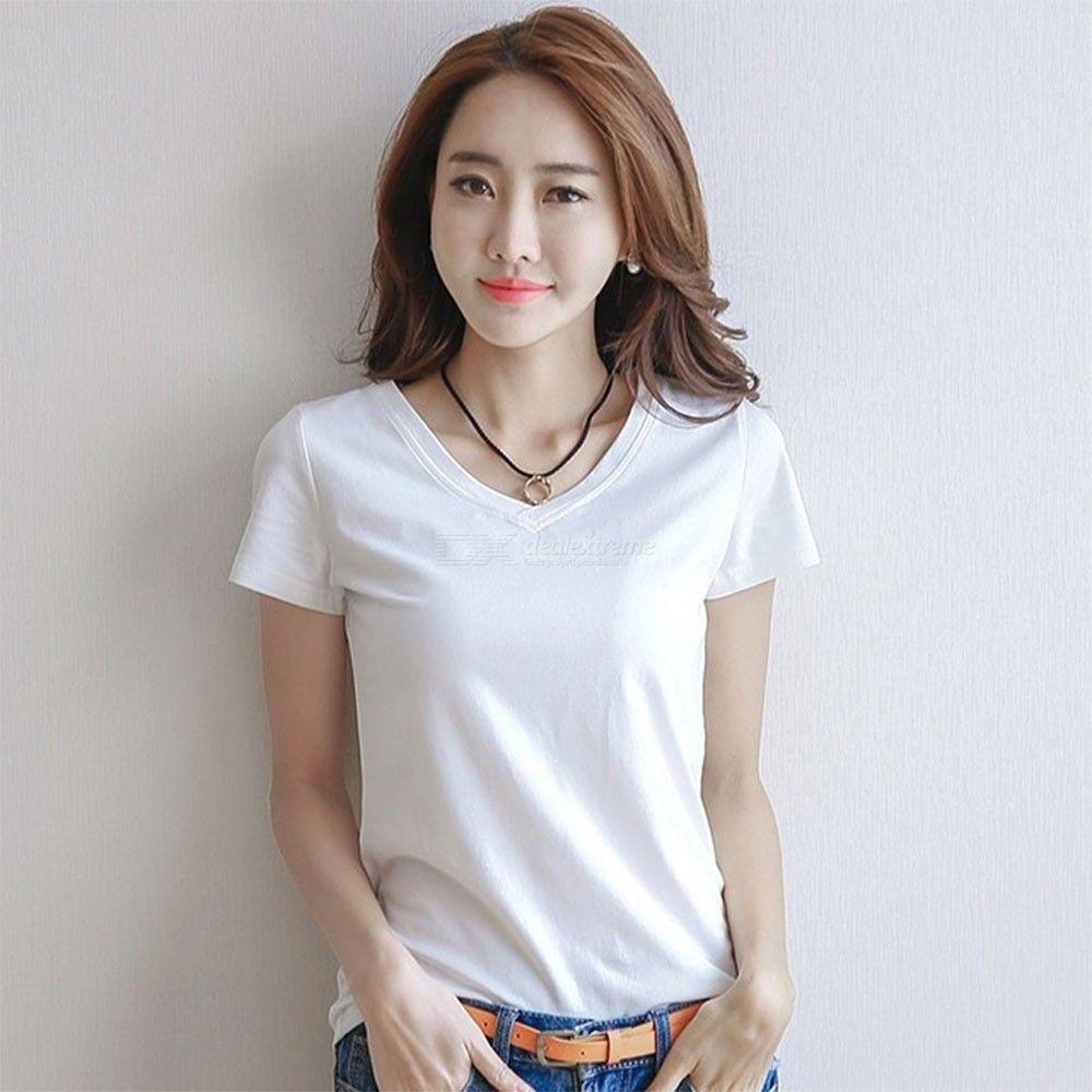Manches Courtes À La Mode Couleur Unie Slim Casual Femmes D'été T-shirt V-cou Tops T-shirt