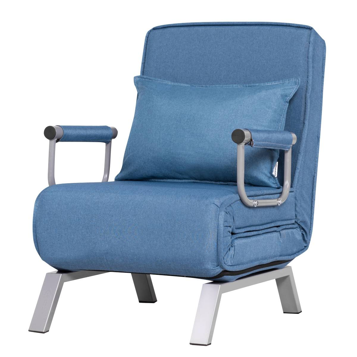 Costway Canapé-Lit Fauteuil Convertible Fauteuil Chauffeuse 1 Place en Tissu Bleu
