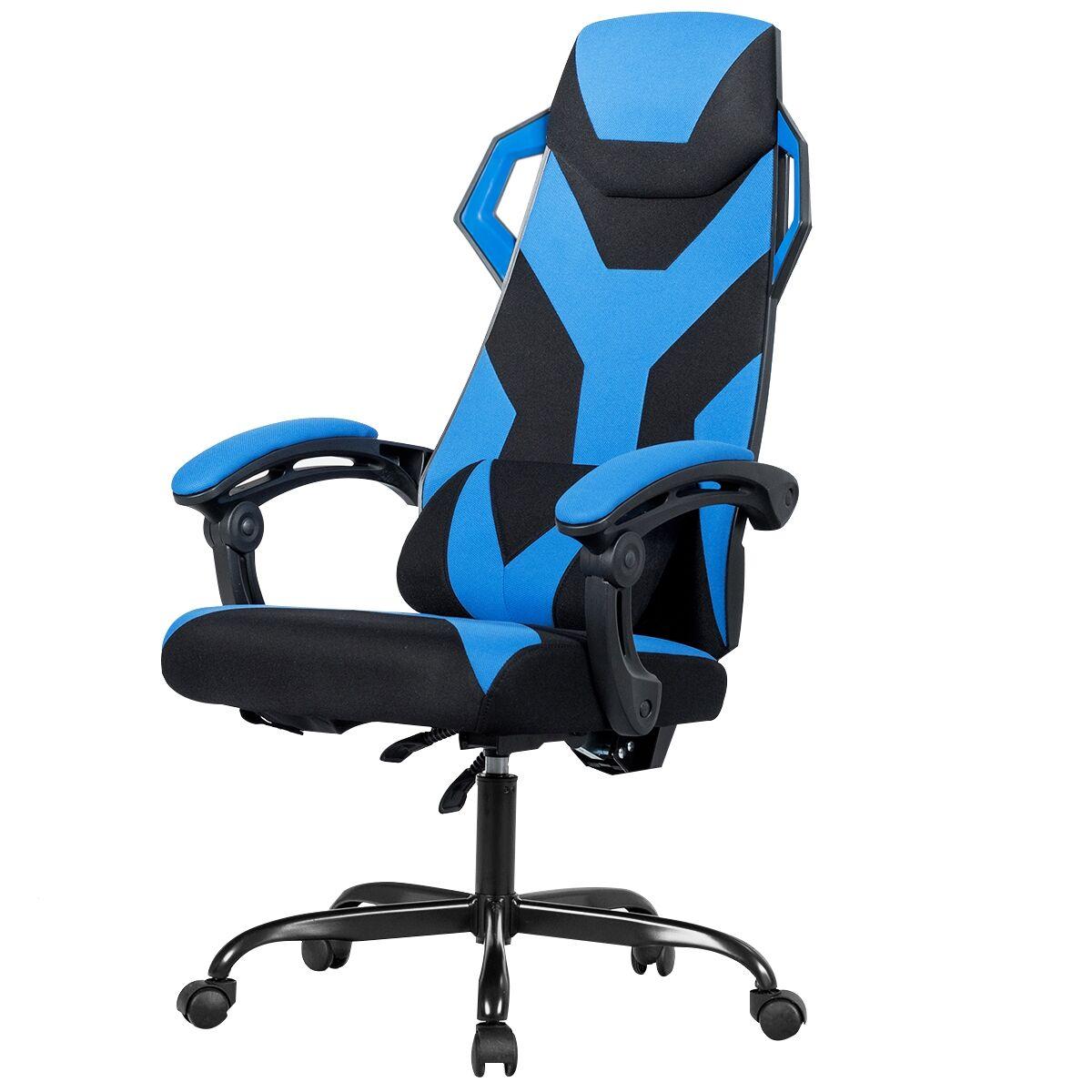 Costway Chaise Gamer Massage Inclinable à 90°-135° Hauteur Réglable Bleu