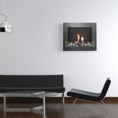 Purline Cheminée murale bioéthanol BESTBIO DESIGN - 2 000 W - noir