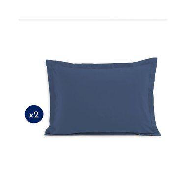 Home Linge Passion Lot de 2 taies rectangulaires 100% coton - Bleu - 50x70 cm