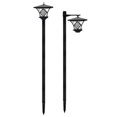 Lumi Jardin Lot de 2 lampadaires solaires BRIXTON noir plastique H155cm