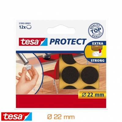 Tesa Rondelles feutres antirayures ronds 22mm - noir