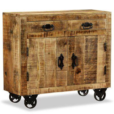 Helloshop26 Buffet bahut armoire console meuble de rangement avec 2 tiroirs et 1 bois de manguier brut 4402085