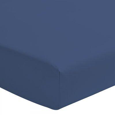 Home Linge Passion Drap housse coloré 100% coton - Bonnet 25cm - Bleu - 140x190 cm